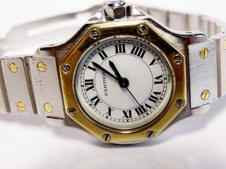 Cartier Lady Santos Ronde Gold / Stahl Damenuhr Automatik.  Stahl - Gold Bild