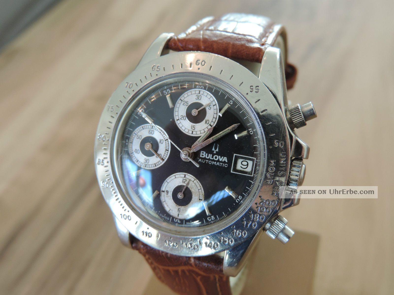 Bulova Speedtimer Automatik Chronograph Eta Valjoux 7750 Sehr Selten 17 Jewels Armbanduhren Bild