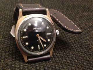 Hamilton Vintage Military Pilot / Diver Watch Milspec Caliber 917 Bronze Hornlug Bild
