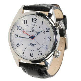 Herren - Armbanduhr Constantin Weisz Handaufzug Alarm Edelstahl Lederband Bild
