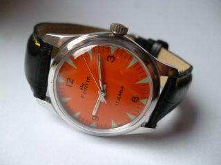 Rare Fortis Military Orange Eye Handaufzug,  Vintage,  Top,  Sehr Schön Bild