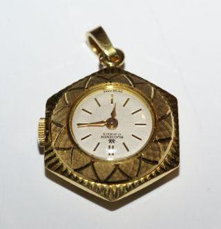 Seltene Bucherer Anhänger Damen Uhr Vergoldet Handaufzug Wie Bild