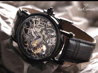 Yves Camani Skelett Herren Armbanduhr.  Im Holz Etui. Bild