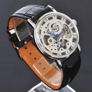 Soki Silber Handaufzug Mechanische Analog Herren Leder Armband Uhr F02 Bild