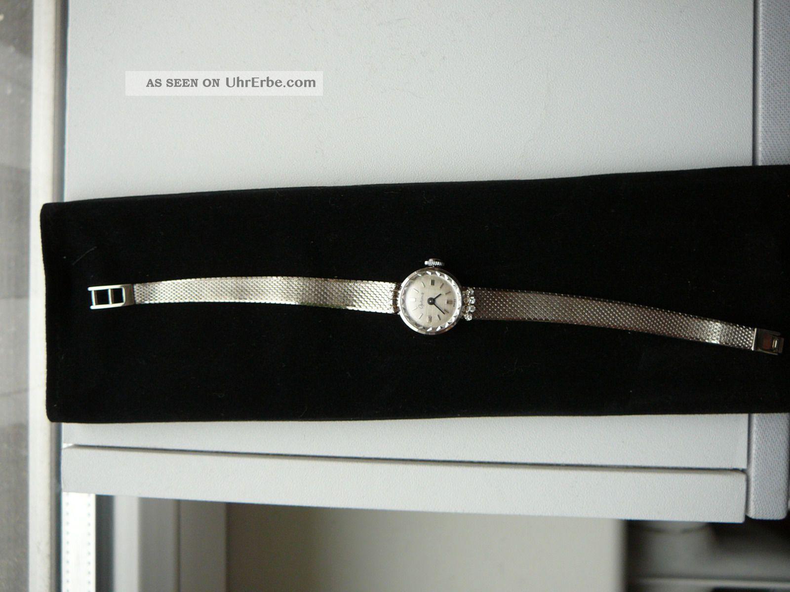 optima damen uhr wei gold 585 14 ct mit 8 diamanten schweizer werk. Black Bedroom Furniture Sets. Home Design Ideas