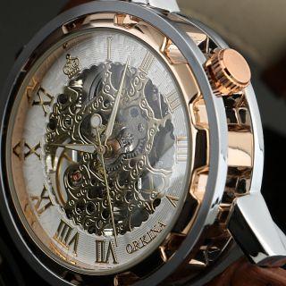 Neue Steampunk Herren Anzug Stil Rose Gold Skelett Mechanisch Herren Armbanduhr Bild