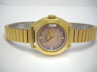 Diehl Goldene Vintage Damenuhr Mit Flexband Junghans Kaliber Bild