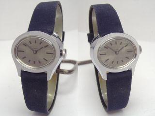 Timex 70er Pultform Damenuhr Mit Blauem Velour Lederband Handaufzug Bild