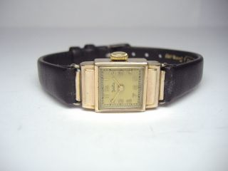 Zentra Vintage Damenuhr Mit Di - Modell Lederband Um 1935 20 Micron Wälzgold Bild
