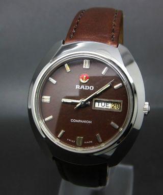 Rot Rado Companion 17 Jewels Mit Datum & Taganzeige Mechanische Uhr Bild