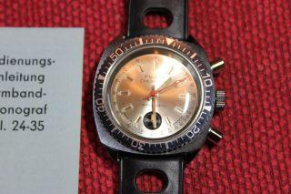 Ddr Ruhla Chronograph 1973 Herrenuhr Armbanduhr Chronograf Bild