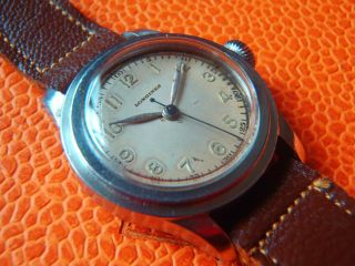 Longines Militär Military Watch With Stepped Case And Big Crown Bild