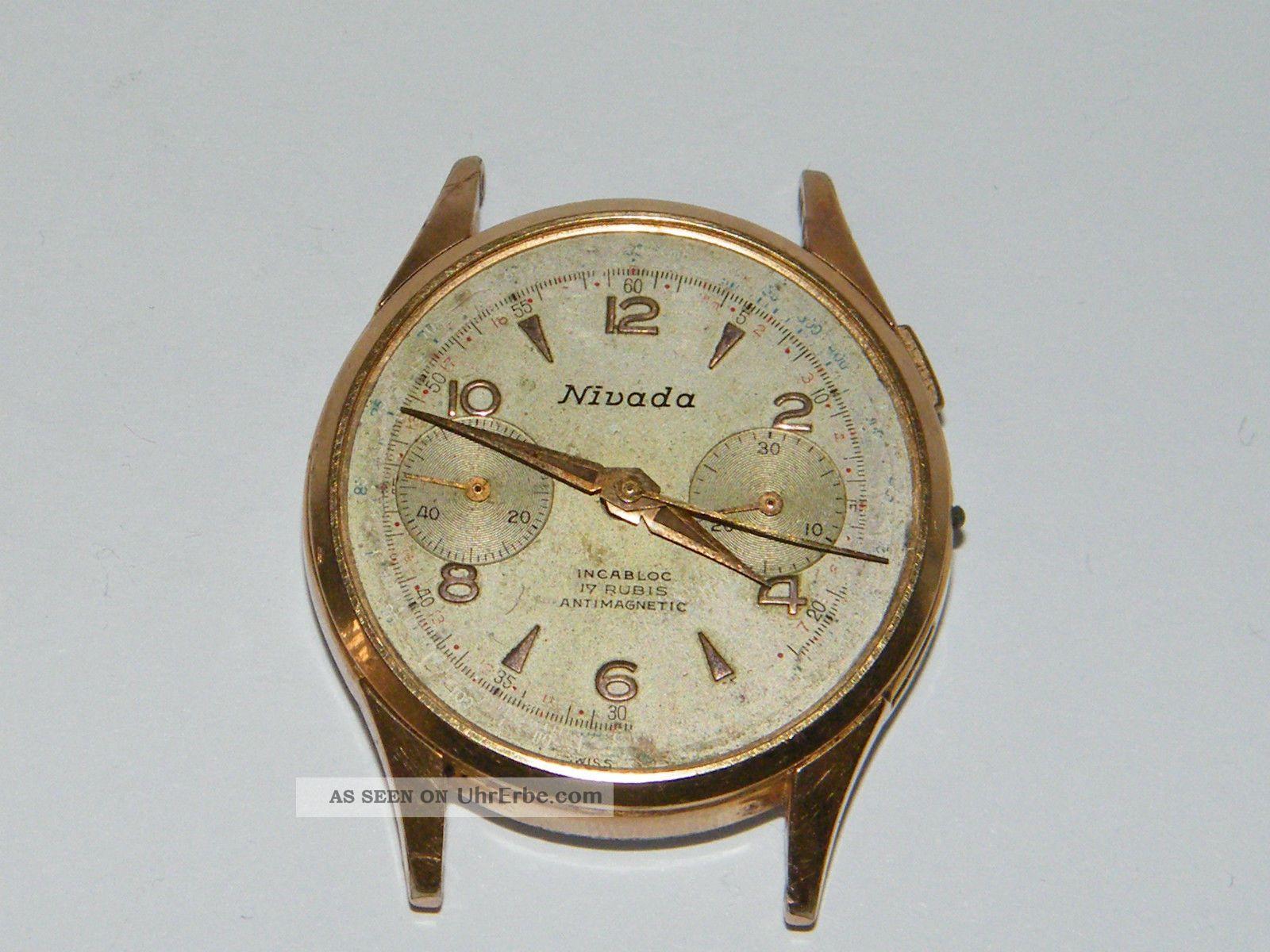 Nivada Chronograph Vintage Handaufzug,  Wrist Watch,  Repair,  Cal Landeron 248 Armbanduhren Bild