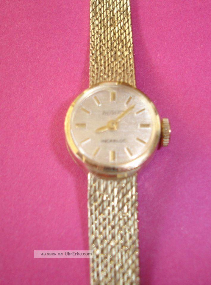 goldene damen armbanduhr uhrwerk armband 14 karat. Black Bedroom Furniture Sets. Home Design Ideas