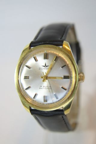 Schöne Vergoldete Dugena Herrenarmbanduhr Kal.  Dugena 2111 Bild