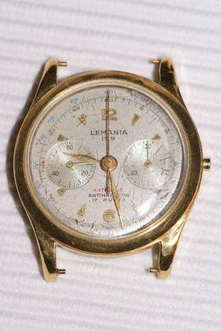Lemania 105 Chronograph 18k Gold Vintage Komplett Heuer Bild