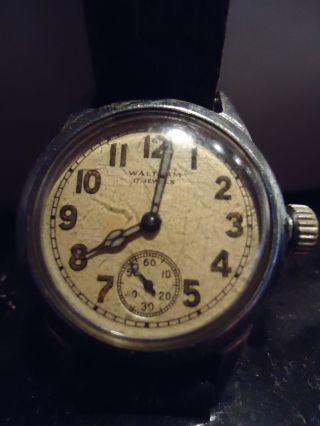 Waltham Armbanduhr MilitÄr 31mm Durchmesser 17 Jewels An Bastler Selten Sammler Bild