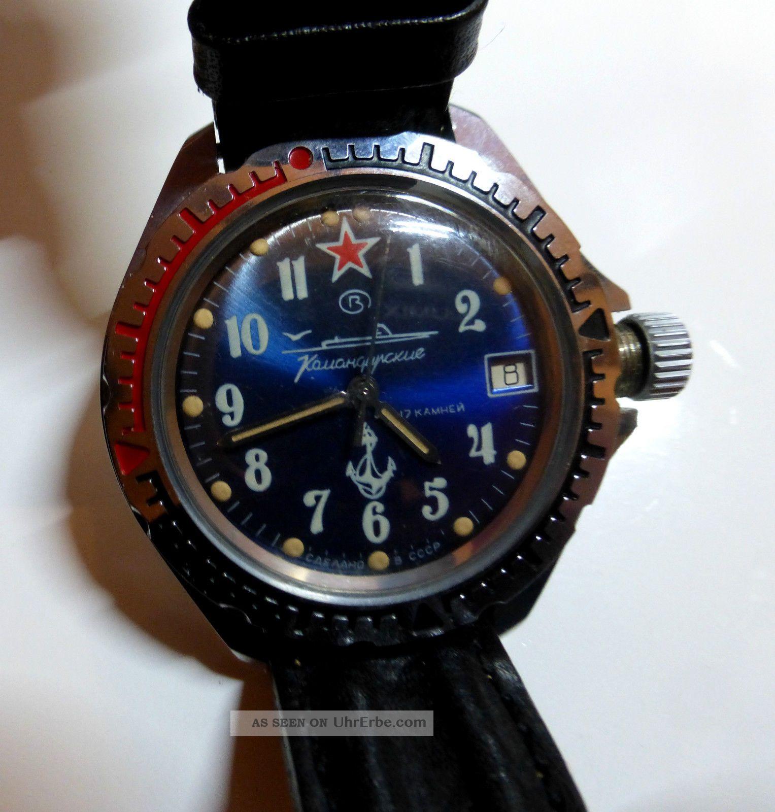 Russische Sammleruhr Marine Uhr Komandirskie Handaufzug Armbanduhren Bild