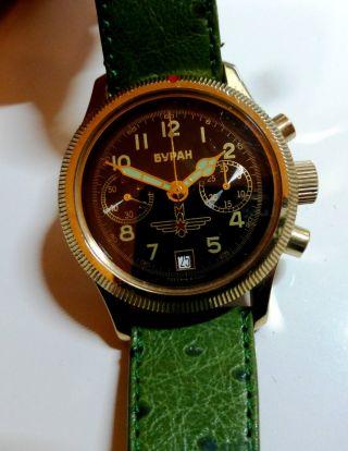 Poljot Buran Chronograph Handaufzug Kal.  Su 3133 Russische Sammleruhr Bild