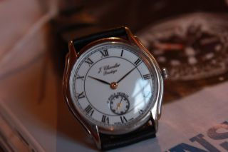 J.  Chevalier Prestige Herrenarmbanduhr Handaufzug Swiss Made Peseux 7040 Dez.  Sek Bild