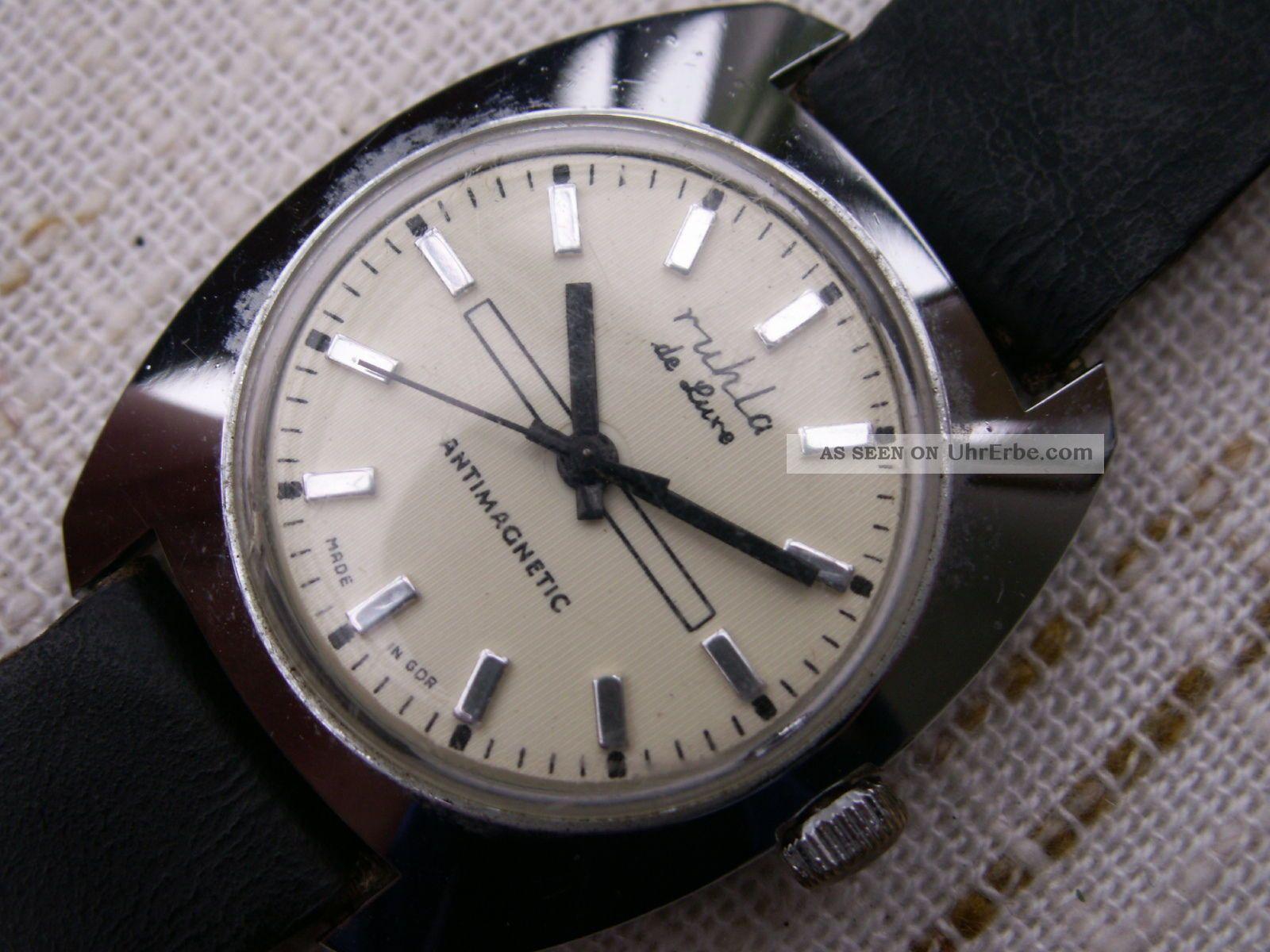 Ddr Herren - Uhr Ruhla De Luxe,  Seltenes Disign,  Läuft,  Sammler,  Kenner, Armbanduhren Bild