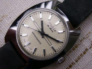 Ddr Herren - Uhr Ruhla De Luxe,  Seltenes Disign,  Läuft,  Sammler,  Kenner, Bild