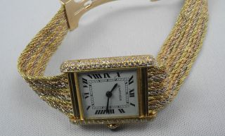 Selten Cartier Tank 750 Gelb -,  Rot -,  Weiß Gold Handaufzug Uhr Armbanduhr Bild