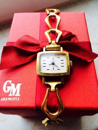Wunderschöne Goldene Damen Glashütte Armbanduhr Top Bild