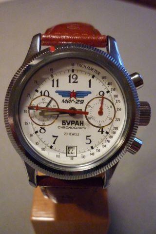 Herrenuhr Poljot Buran Fliegeruhr Russischer Chronograph 3133 Handaufzug Bild