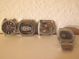 Konvolut 4 Herren Armbanduhren Digital Und Analog 70 Iger Jahre Bastler Bild