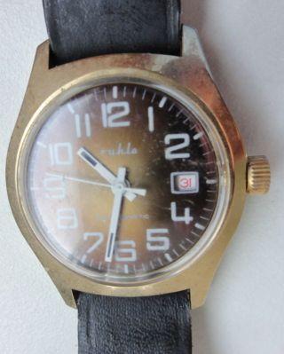 Gebrauchte Armbanduhr Uhr Datum Anzeige Preisschild Ddr Sammlung Technik Intakt Bild