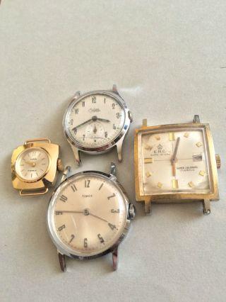 4 Schöne Vintage Armbanduhren Handaufzug - Bifora Top,  Ruhla,  Timex Und E.  R.  C. Bild