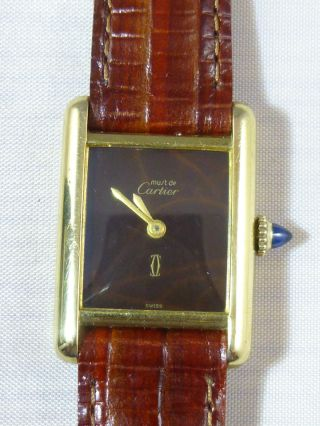 Cartier Tank Handaufzug Silber Vergoldet Getragener Mechanical Movement Bild