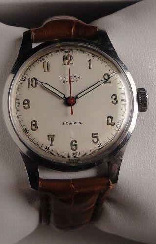 Vintage Armbanduhr Enicar Sport In Edelstahl - Ca.  1950 - Handaufzug Cal.  410 Bild
