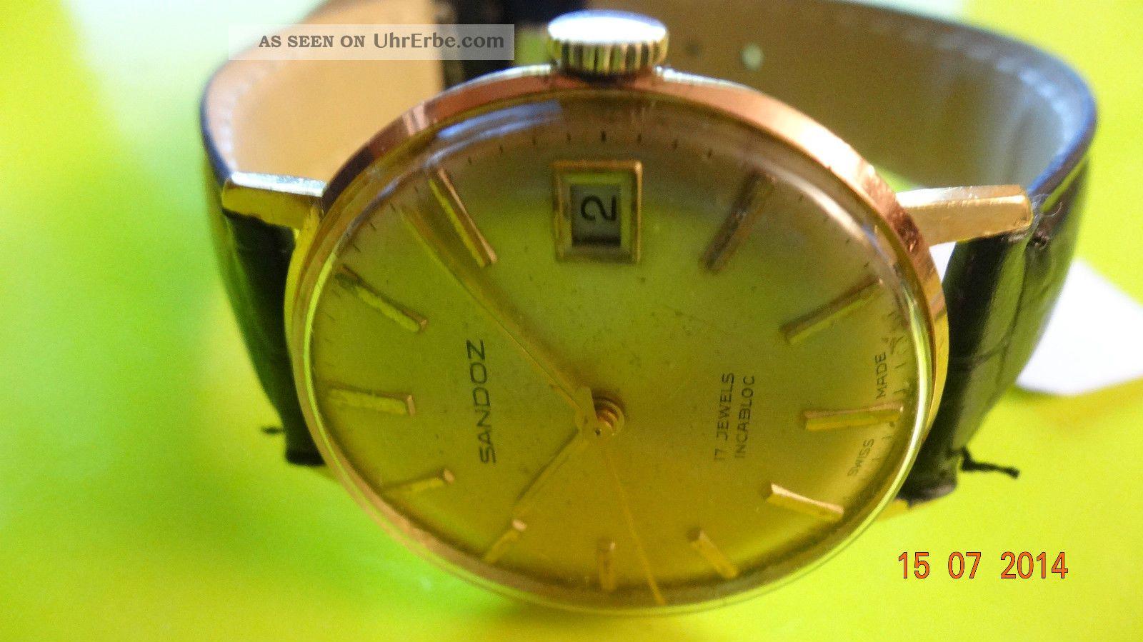 Vintage Rare Henri Sandoz & Fils Golden Plated Incabloc 17 J Cal.  Fhf St 96 - 4 Armbanduhren Bild