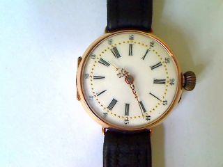 Antike Armbanduhr 750er/18 Kt.  Gold.  Handaufzug - Mittelgroß - Verziert Vintage Bild