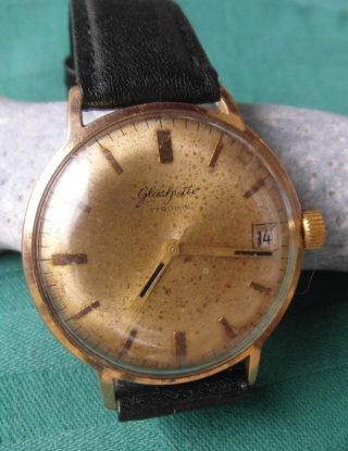 Zeitlose Glashütte Uhr Vintage Armbanduhr Datum Handaufzug 17 Rubis Um 1960 - 70 Bild