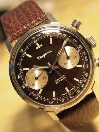 Seltener Dugena Fliegerchronograph,  Handaufzug,  Edelstahl Bild
