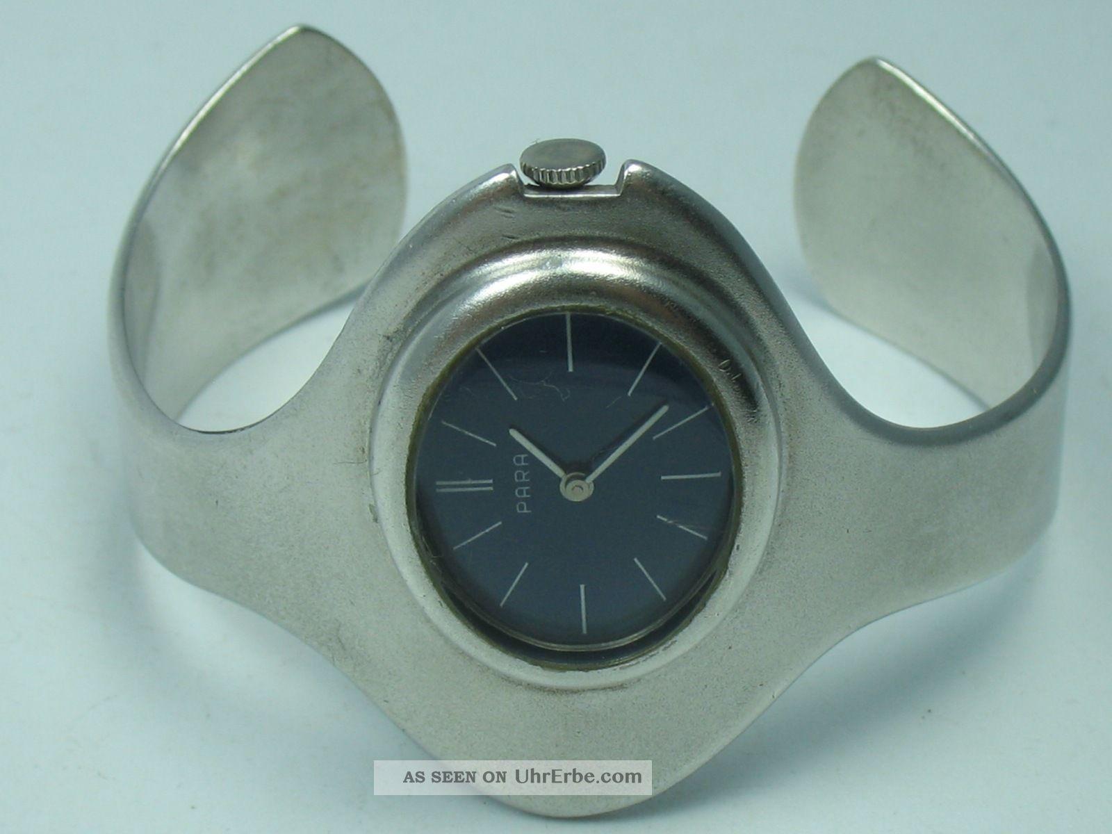 Para : Klasse Massive Designer Damen Spangen Armbanduhr Aus 835 Silber Armbanduhren Bild
