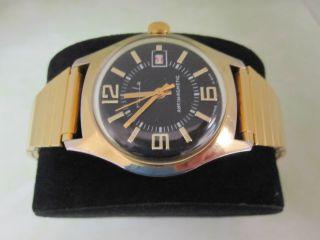 Goldene Ruhla Umf 24 Hau Ddr Schwarzes Zifferblatt Handaufzug Metallband Bild
