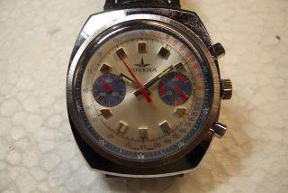Dugena Chronograph Herren Armbanduhr Kal.  Valjoux 7733 70 ' Er Jahre Gebr.  Zust. Bild