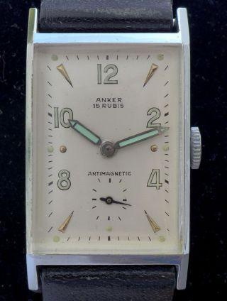 Herren/damenuhr Art - Deco Anker Formuhr Eckig Handaufzug 1950er Jahre Vintage Top Bild