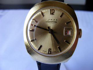 Lucerne Date 70er Swiss Made Herren Uhr Vintage Sammleruhr Nos Bild