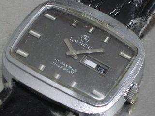 Lanco 17 Jewels Damen - Armbanduhr Kissenform Mech.  Daydate Kal.  Unitas 6480 Bild