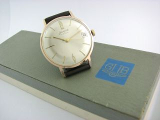 Top.  Glashutte 17 Rubis.  Gold Plated.  Big Case.  Box.  Check It Bild