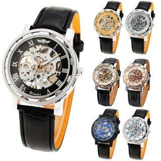 Herrenuhr Handaufzug Mechanische Mechanik Kunstleder Armband Uhr 7 Farben U Bild