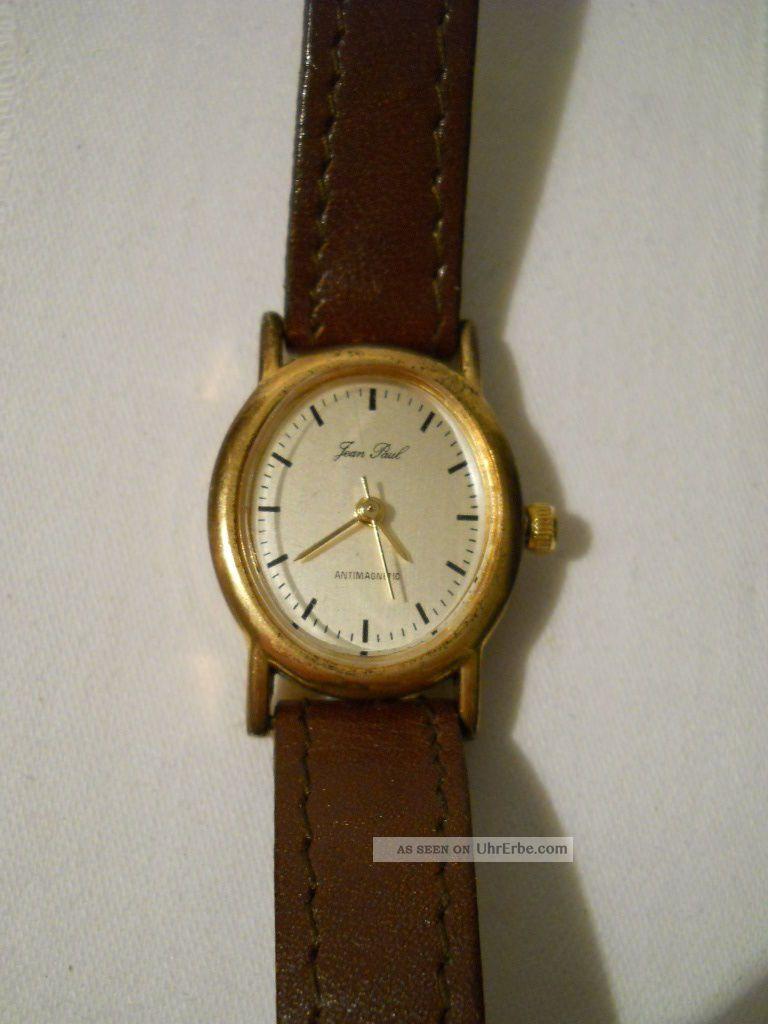 Damen Armbanduhr Modeschmuck Jean Paul Braun Lederarmband