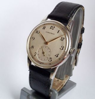 1950s Big (35mm) Longines Stahl Steel Herrenuhr Men´s Watch Bild