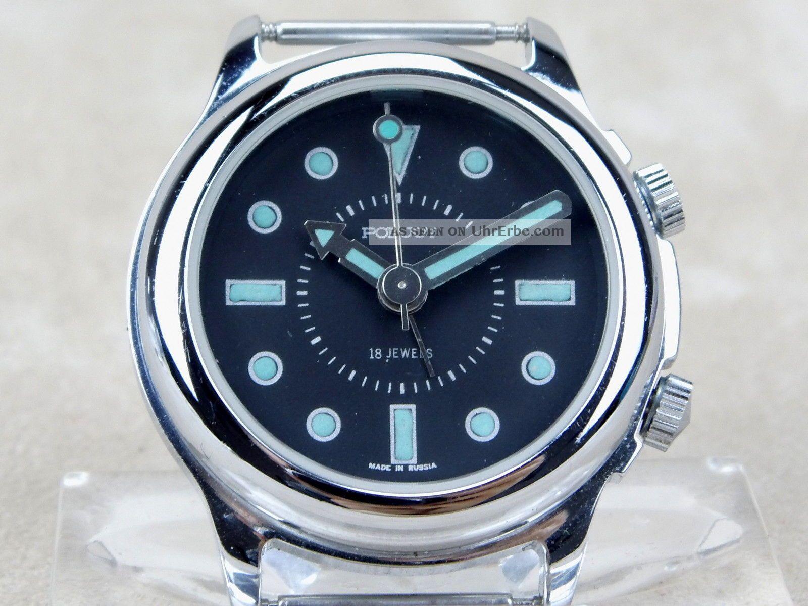 Poljot Armbanduhr Mit Weckfunktion Alarm Wecker Handaufzug Armbanduhren Bild