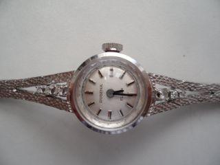 Dugena Damenuhr Kpl.  Gold 585 Mit 6 Diamanten Im Achtkantschliff Bild